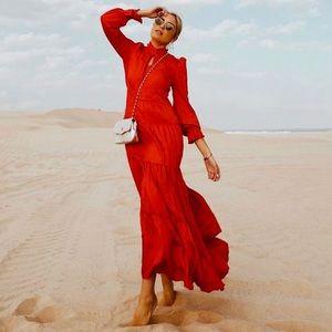 Maxi Ruffle Red Flowy Dress